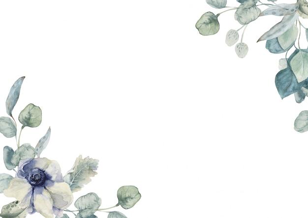 Hochzeits- und frühlings-ostern-quadrat-rahmenzusammensetzung mit eukaliptusblättern und -anemone.