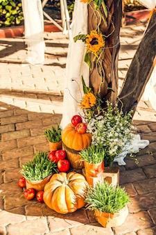 Hochzeitsbogen für die hochzeitszeremonie außerhalb des geländes, dekoriert im herbstthema mit kürbissen.