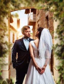 Hochzeitsfoto-shooting von schönen jungvermählten