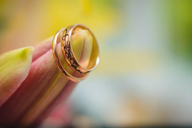 Hochzeitsgoldringe auf der knospe einer blume