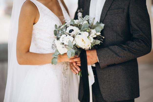 Hochzeitspaar an ihrem hochzeitstag