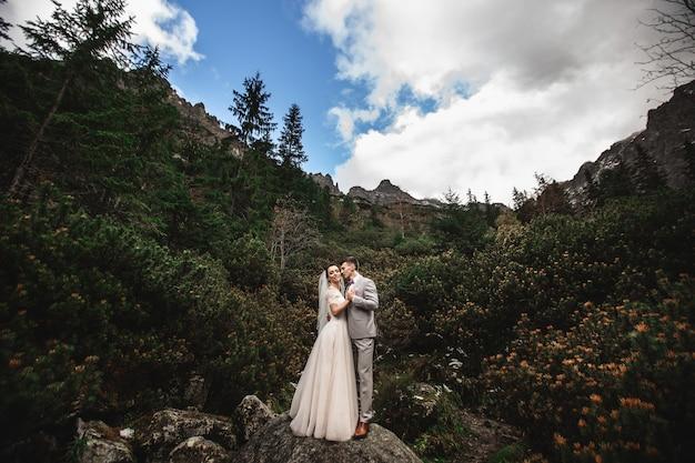 Hochzeitspaare, die nahe dem see in tatra-bergen in polen, morskie oko gehen