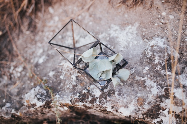 Hochzeitsringe in einer metallischen glasschachtel