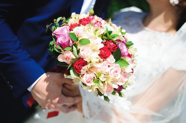 Hochzeitsstrauß, blumenstrauß der schönen blumen am hochzeitstag