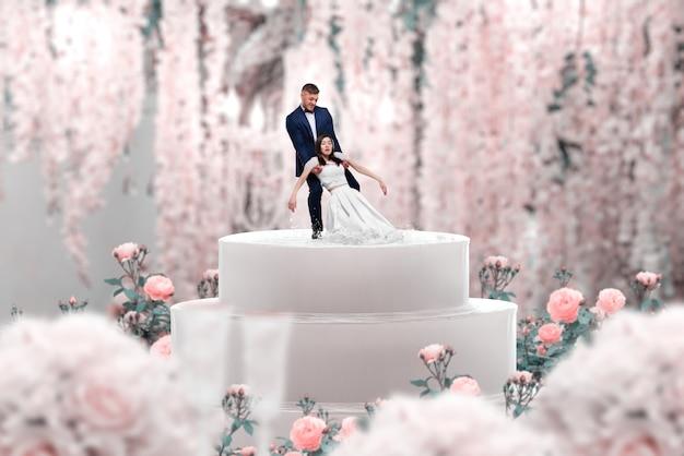 Hochzeitstorte, braut und bräutigam, heiratsantrag