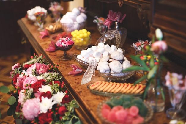Hochzeitsveranstaltung mit schokoriegel tisch