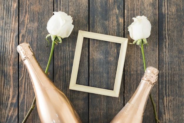 Hochzeitsverzierungen mit champagnerflasche