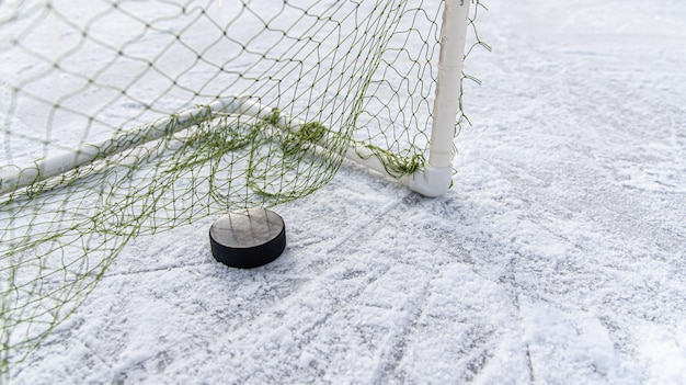 Hockey puck in der tornetznahaufnahme