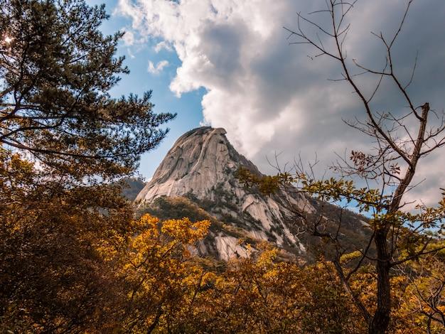 Höchster berg in seoul. herbstansicht mit schwermütigem himmel