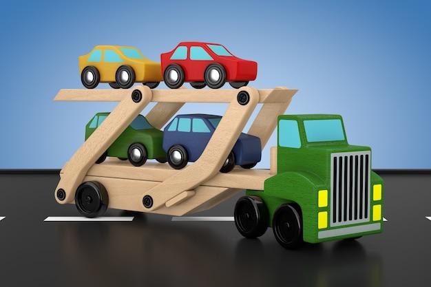 Hölzerne farbige cars carrier truck trailer spielzeug auf blauem grund. 3d-rendering