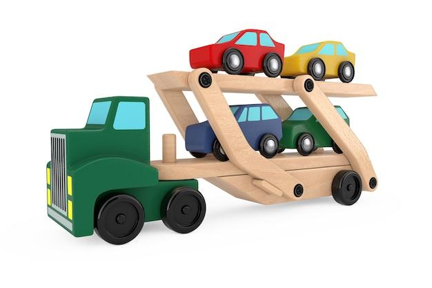Hölzerne farbige cars carrier truck trailer spielzeug auf weißem hintergrund. 3d-rendering