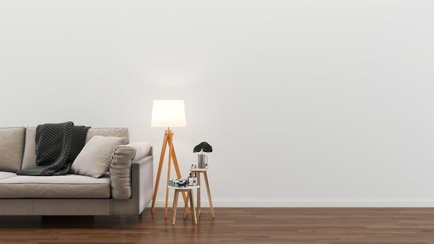 Hölzerne fußboden-lampenanlage der weißen holzsofa der wohnzimmerwand