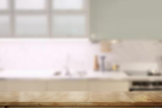 Hölzerne gegenoberseite tabelle mit modernem küchenraumhintergrund.