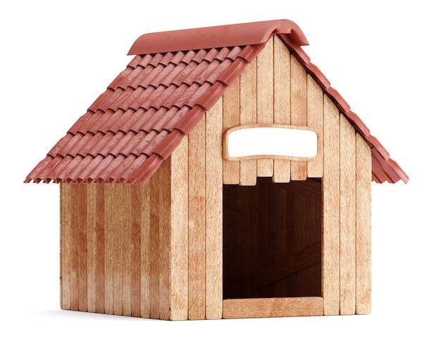 Hölzerne hundehütte lokalisiert auf weißem hintergrund
