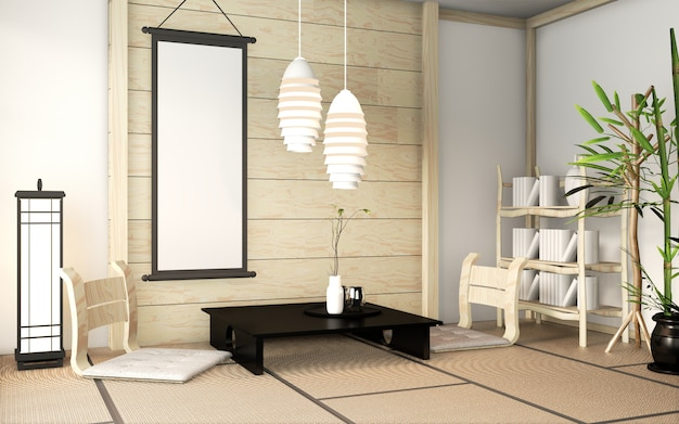 Hölzerne innenwand des zenraumes auf tatamimattenboden mit plakatrahmen, niedrigem tisch und lehnsessel. 3d-rendering