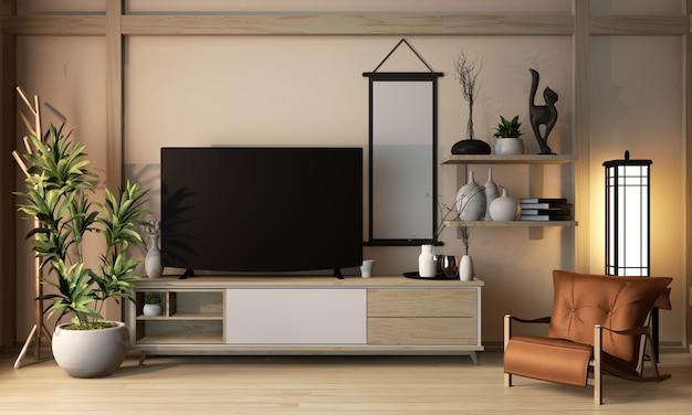 Hölzerne kabinettjapan-art auf minimalem design raum ryokan- und dekorationsjapan-art, wiedergabe 3d