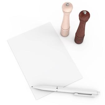 Hölzerne pfeffer- oder salzmühlen in der nähe von leerem rezeptpapier auf weißem hintergrund. 3d-rendering
