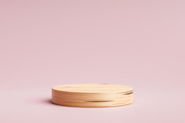 Hölzerne produktanzeige oder schaufenstersockel auf rosa hintergrund mit zylinderständer. rosa studio podium oder plattform produktvorlage. 3d-rendering.