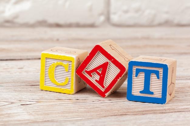 Hölzerne spielzeugblöcke mit dem text: katze