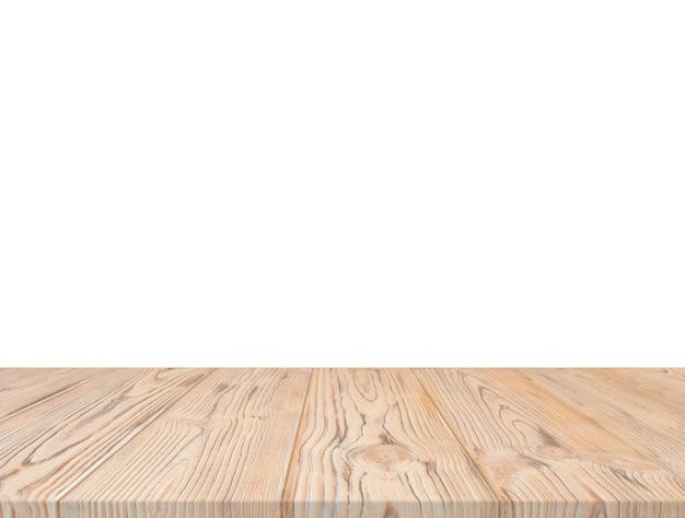 Hölzerne strukturierte tischplatte gegen weißen hintergrund