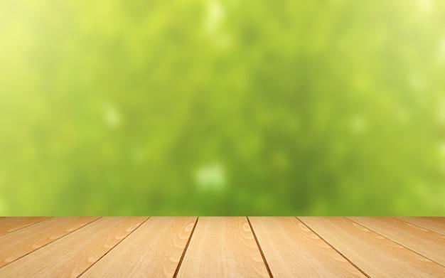 Hölzerne tabelle auf grünem unschärfehintergrund