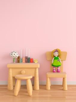 Hölzerne tabelle und stuhl im rosafarbenen kinderraum