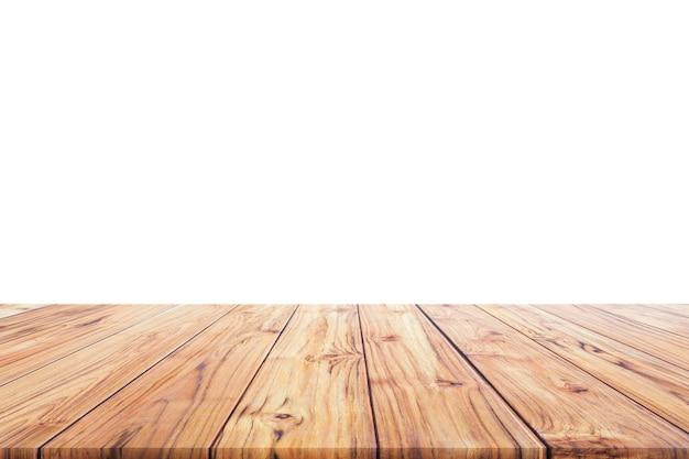 Hölzerne tischplatte auf weißem hintergrund für hintergrund