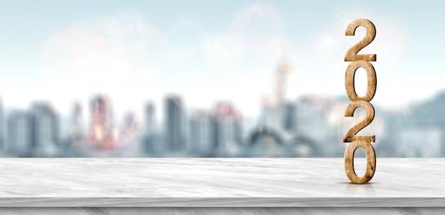 Hölzerne zahl des neuen jahres 2020 (wiedergabe 3d) auf marmortabelle am unschärfezusammenfassungsstadtbild bokeh feuerwerk