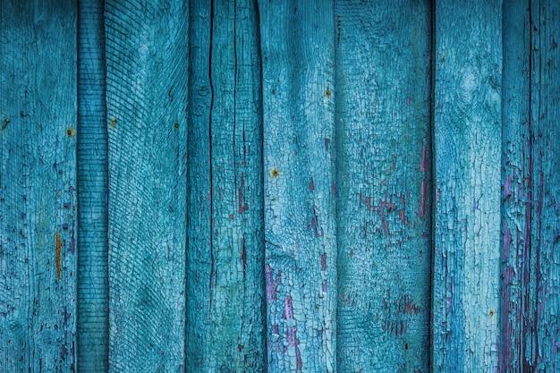 Hölzerner alter antiker hintergrund von den baufälligen blauen brettern