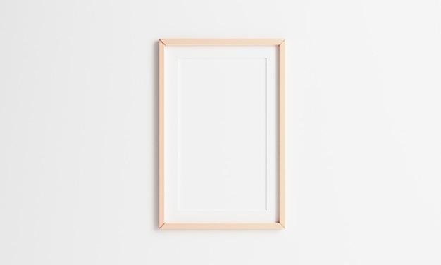 Hölzerner bilderrahmen, der auf weißem wandhintergrund hängt. fotorahmengröße mit 23 verhältnissen