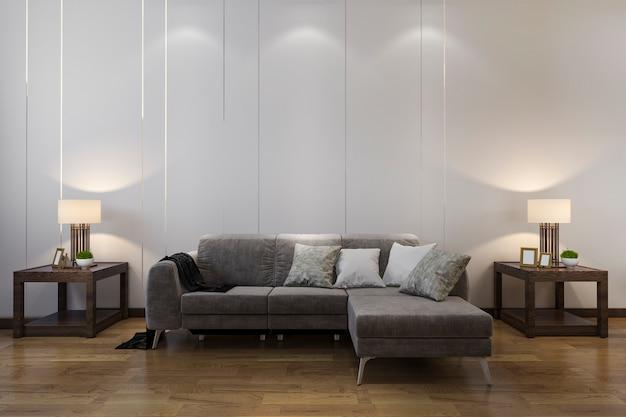 Hölzerner dekor der wiedergabe 3d im wohnzimmer mit chinesischer art des sofas