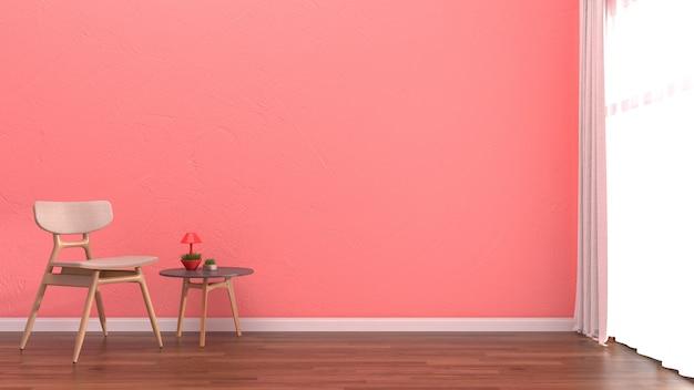 Hölzerner fußboden stuhlschablone der innenwohnzimmerrosa-pastellwand weiße
