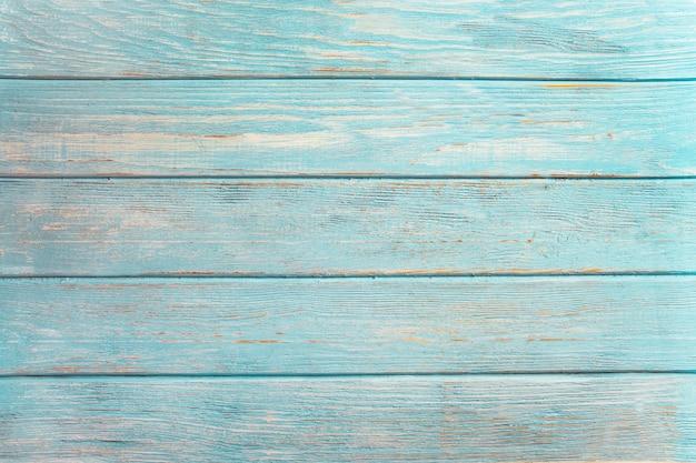 Hölzerner hintergrund des weinlesestrandes - alte verwitterte hölzerne planke gemalt in der türkisfarbenen oder blauen seefarbe.
