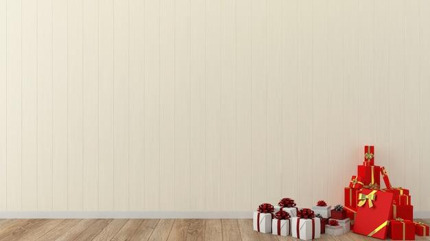 Hölzerner innenraum 3d der schablone der weihnachtswand weihnachtsbaum