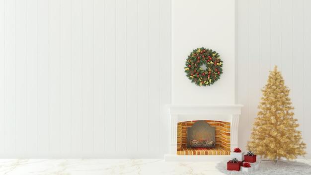 Hölzerner innenraum 3d der weihnachtswand übertragen schablonenweihnachtsbaum