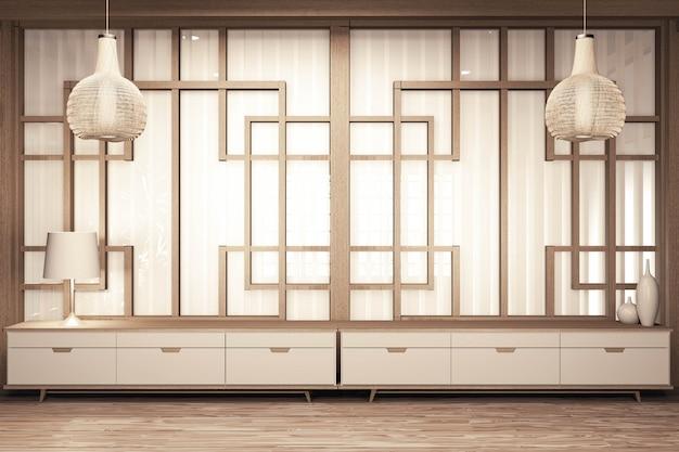 Hölzerner innenraum des raumes der chinesischen art mit bretterboden auf wandpapier und dekoration. 3d-rendering