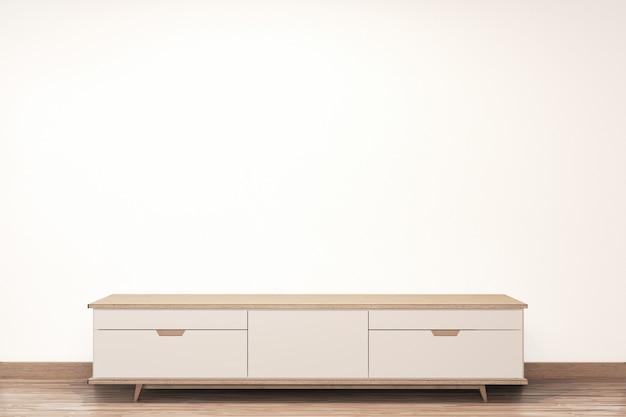 Hölzerner japaner des kabinetts auf leerem wandhintergrund der wohnzimmerzenart