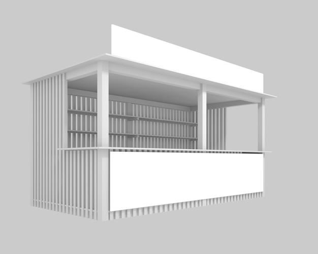 Hölzerner pavillon mit raum für die werbung, illustration 3d