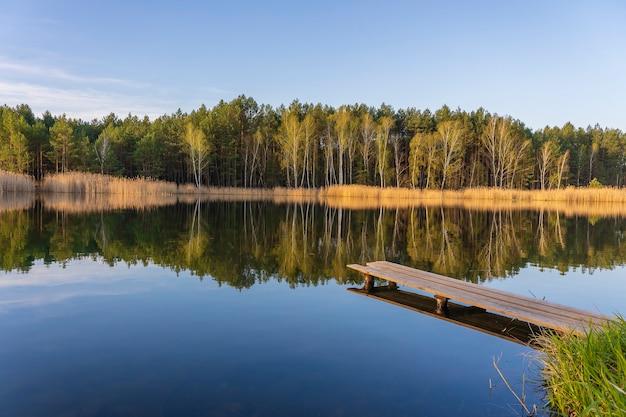 Hölzerner pier und frühlingswald an einem ruhigen see in der ukraine. natur- und reisekonzept. schöne und bunte szene
