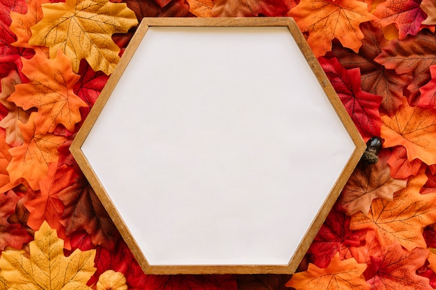 Hölzerner rahmen des hexagons auf herbsthintergrund