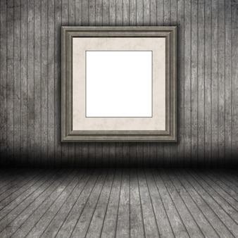 Hölzerner rauminnenraum des schmutzes 3d mit leerem bilderrahmen