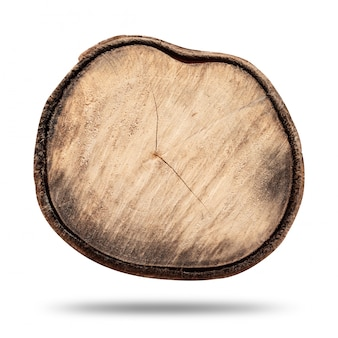 Hölzerner stumpf oder hölzerner klotz lokalisiert auf reinweiß