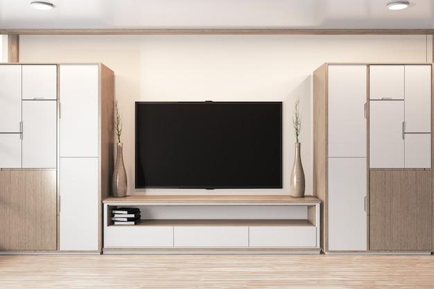 Hölzernes design der garderobe und hölzernes japanisches design des kabinettfernsehens auf minimalem innenraum des raumes