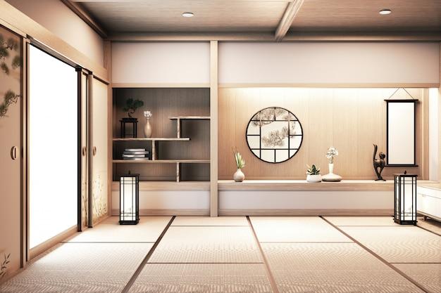 Hölzernes design des papierfensters auf leerem raumweiß auf japanischer innenarchitektur des bretterbodens wiedergabe 3d