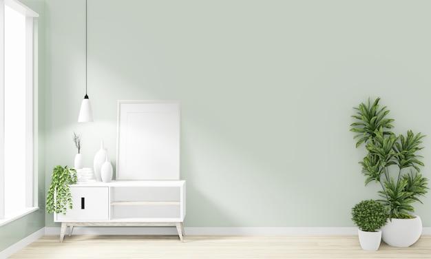 Hölzernes minimales japanisches design des kabinetts auf modernem zendesign des raumes wiedergabe 3d