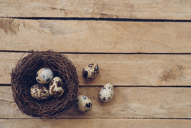 Hölzernes nest und ostereier auf hölzernem hintergrund und beschaffenheit mit kopienraum.
