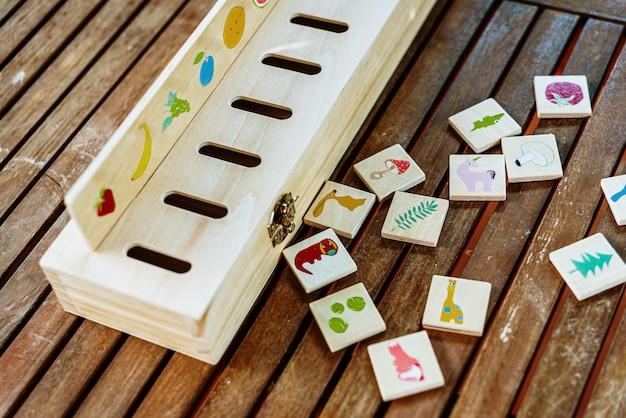 Hölzernes spiel, das zu zeichnungen passt und in pädagogischen alternativen pädagogiken wie der montessori-methode verwendet wird.