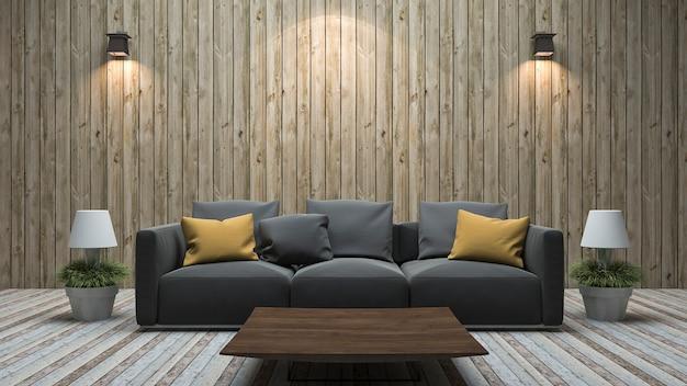 Hölzernes wandwohnzimmer der weinlese der wiedergabe 3d mit buntem sofa