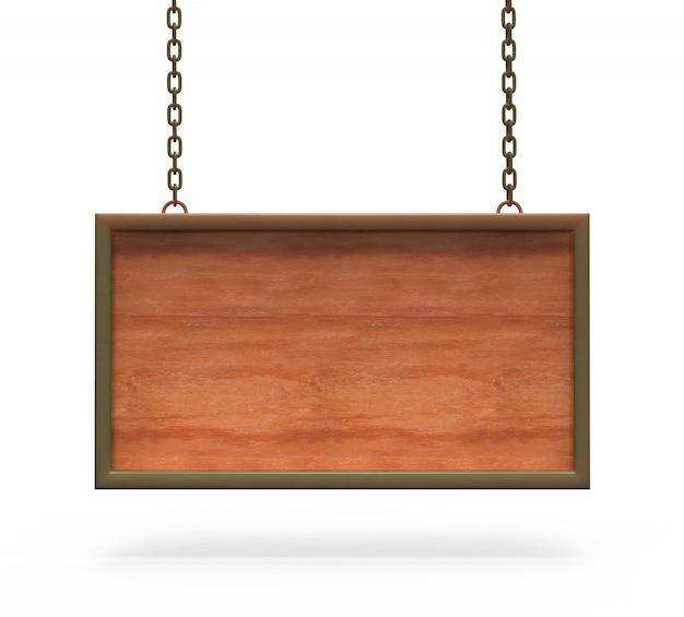Hölzernes zeichen-brett, das an den ketten hängt.