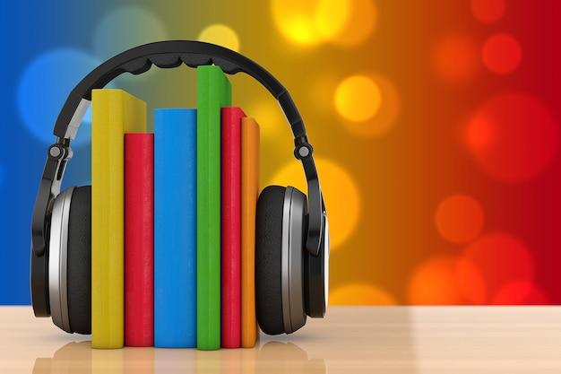 Hörbuch-konzept. schwarze drahtlose kopfhörer mit büchern auf einem holztisch. 3d-rendering